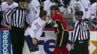 McGrattan vs MacIntyre Fight - Oilers vs Flames - Oct 24/09