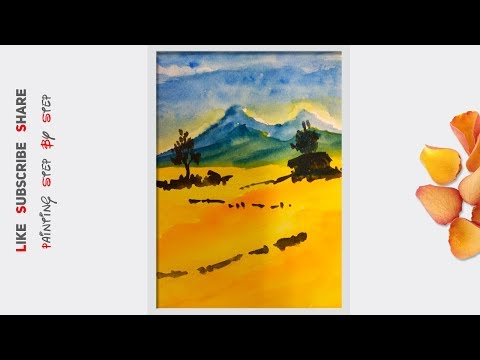 Watercolor painting for beginners, Watercolor painting of mountains, How to paint landscape