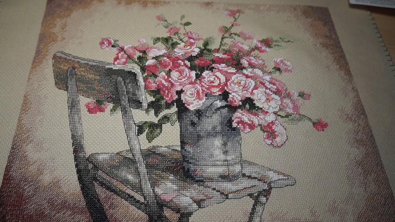 Букет розы на стуле дименшенс