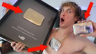 DESTROYING MY FIRST GOLD YOUTUBE PLAY BUTTON!