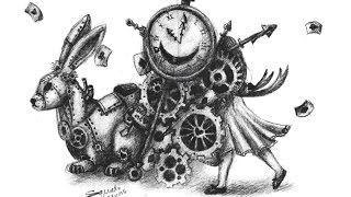 STEAMPUNK ALICE | Drawing Timelapse - Speed Drawing | FIND THE HEARTS