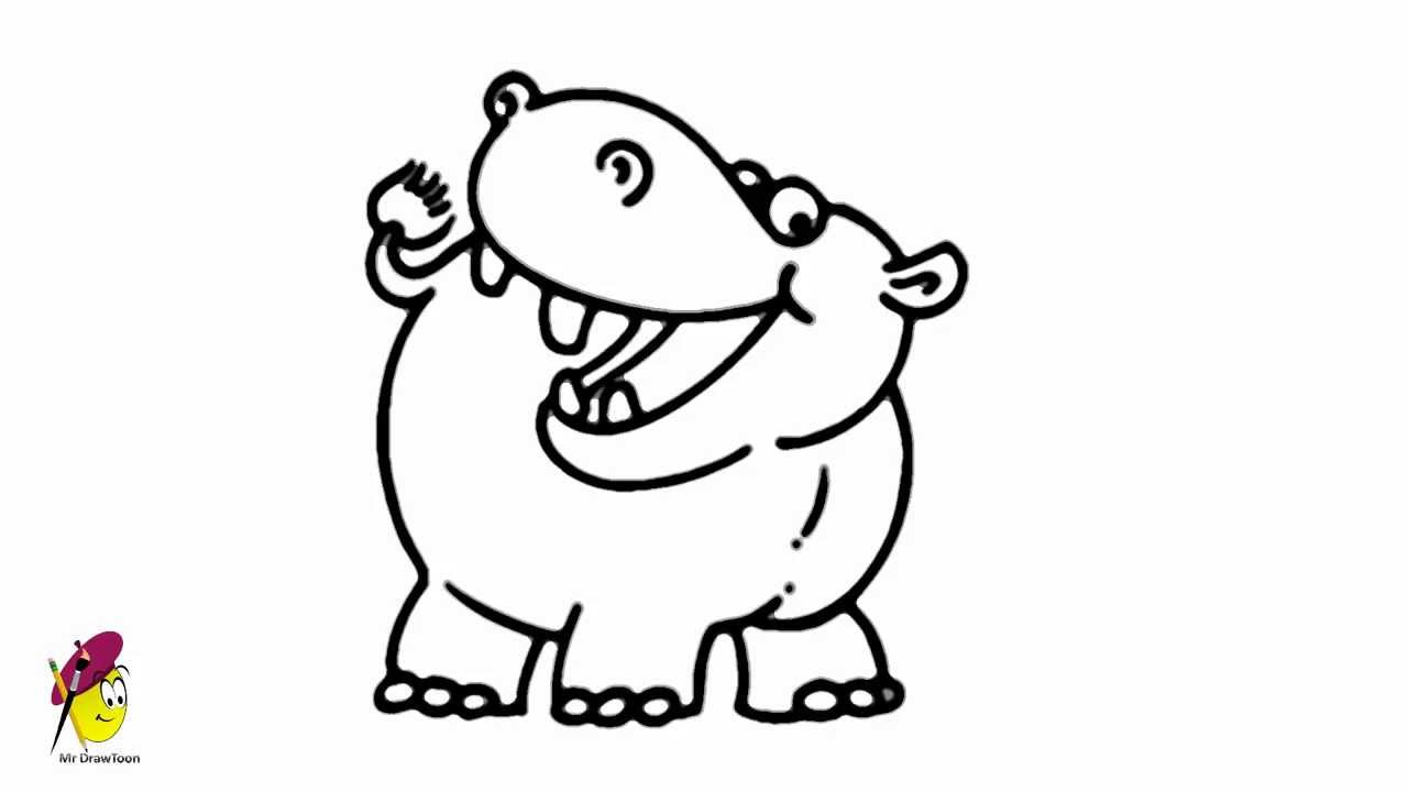 Uncategorized How To Draw A Cute Hippo smilling hippo easy drawing how to draw a youtube