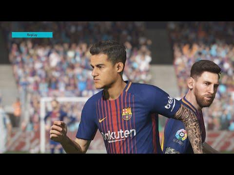 Debut Philippe Coutinho - Barcelona vs Real Madrid - NARRAÇÃO GALVÃO BUENO - PES 18 MODO LENDA
