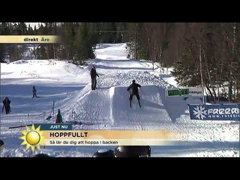 Nervöst när TV4:s reporter ska hoppa med skidor - Nyhetsmorgon (TV4)