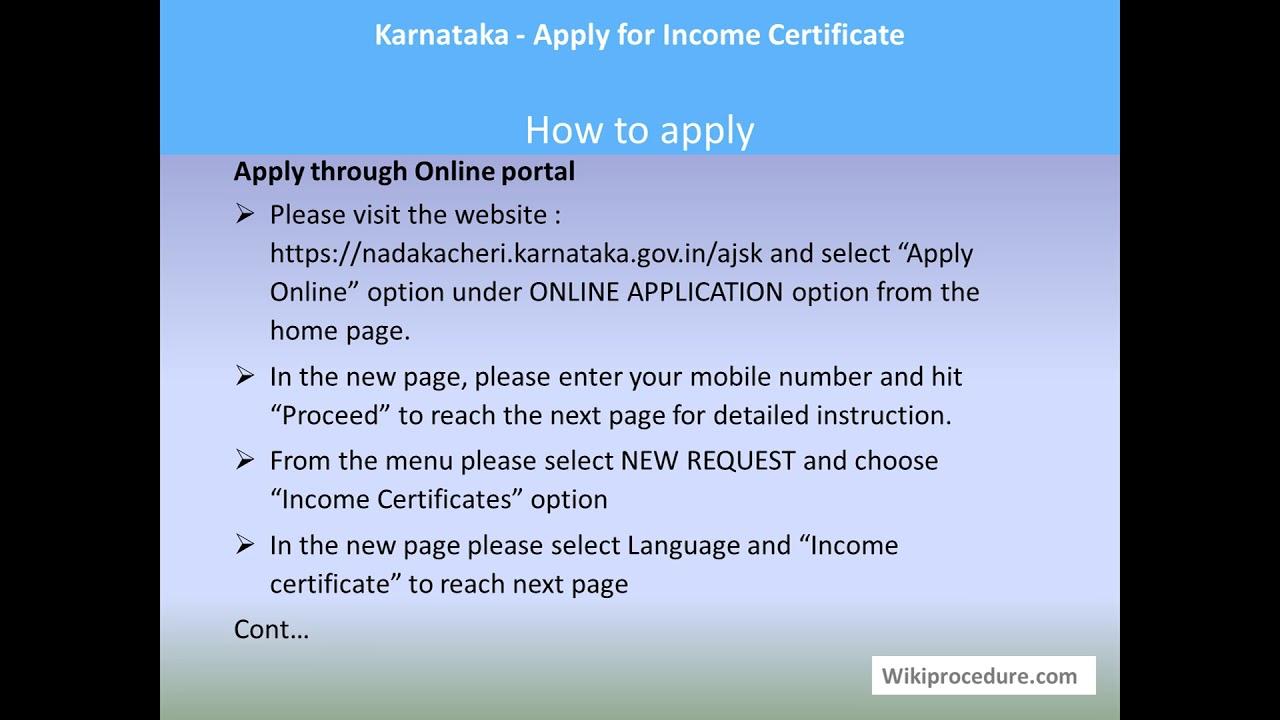 Karnataka - Apply for Income Certificate