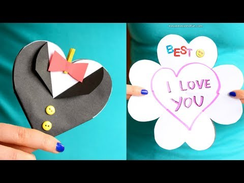 How to Make Father's Day Tuxedo Heart Card - paper craft idea for kids