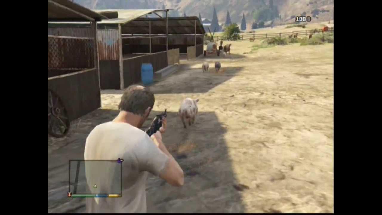 gta v hunting pigs cazando cerdos youtube