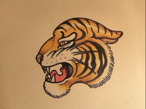 How to Draw a Tiger face side view by thebrokenpuppet