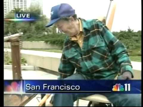 Morgan Cowin demonstrates and promotes the Saw Festival on a San Francisco NBC TV Station in 2007