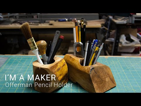 I made an Offerman Style Pencil Holder out of Apple Wood | #maker #woodworking #diy