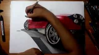 Desenho Realista carro Pagani Huayra Time Lapse  muito bom !!