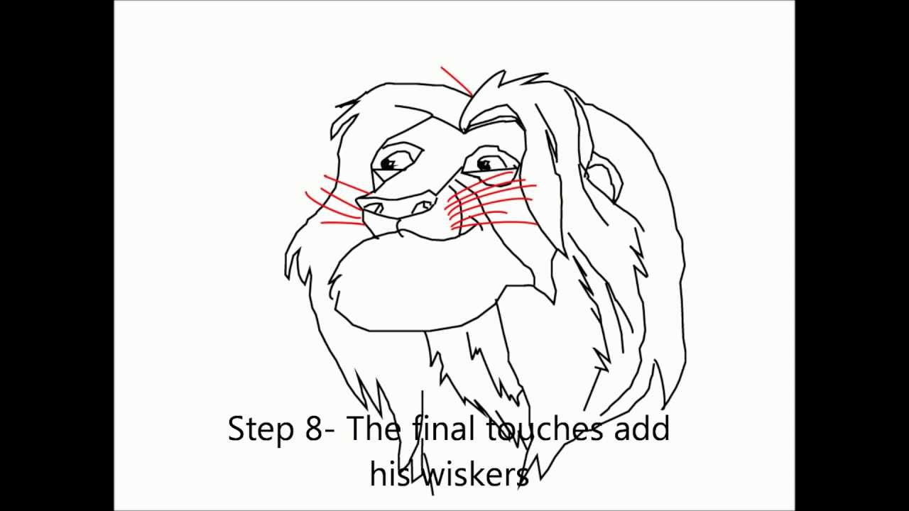 How to draw ADULT SIMBA from the LION KING Step-by-step