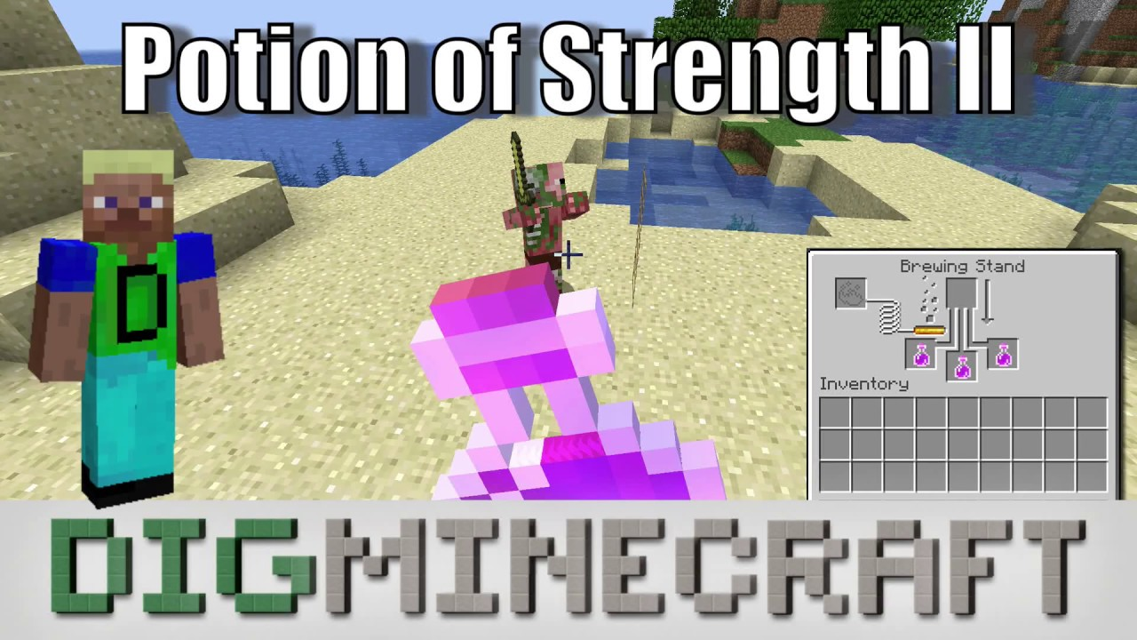 How to make a Potion of Strength (1:30 - Strength II) in Minecraft