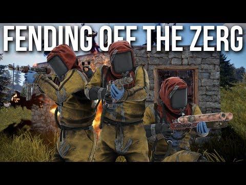 Rust - Defending our Base Against a Zerg (3v7 Raid Defense) thumbnail
