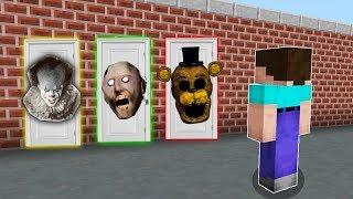 - КАКУЮ СТРАШНУЮ ДВЕРЬ ВЫБЕРЕТ НУБ В МАЙНКРАФТ Клоун оно, Бабушка Гренни и Аниматроник в Minecraft