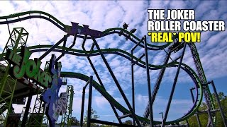the joker roller coaster real pov spinning 4th dimension ride six flags great adventure