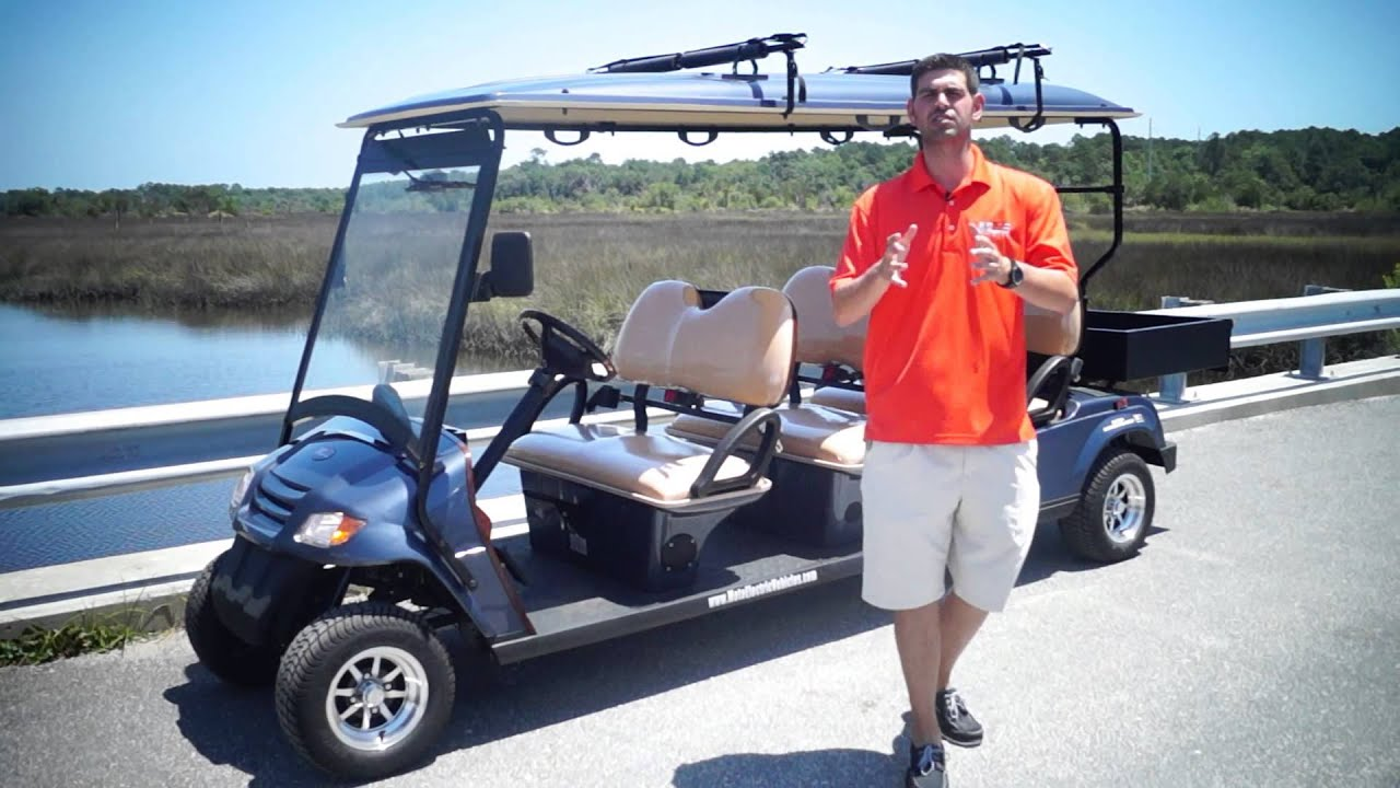 Golf Cart Surfboard Rack From Moto Electric Vehicles Youtube