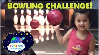 BOWLING CHALLENGE! FUN GAME FOR KIDS PLAYTIME AT Rooftop Indoor KID SIZE Waterpark Evren Adventures