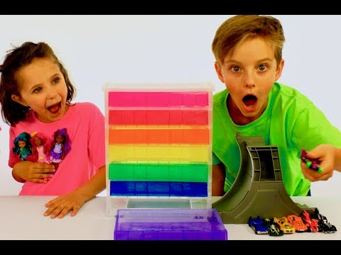Thumbnail: Learn English Colors! Rainbow Surprise Cars and Dolls with Sign Post Kids!