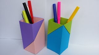 DIY: Paper Crafts!!! How to Make Beautiful Pen/Pencil Holder With Colour Paper!!!