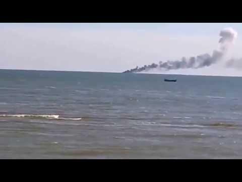 Ukrainian Coast Guard Ship Burns And Sinks After Russian Air Raid - Ukraine