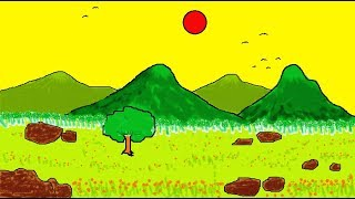 How to Draw a Scenery Landscape in MS Paint | Simple Children Art in MS Paint | Learn Art | ComeTube