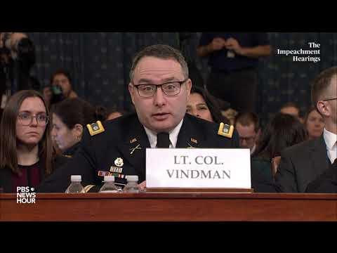 WATCH: Alexander Vindman says he needed to immediately report Trump-Zelensky call