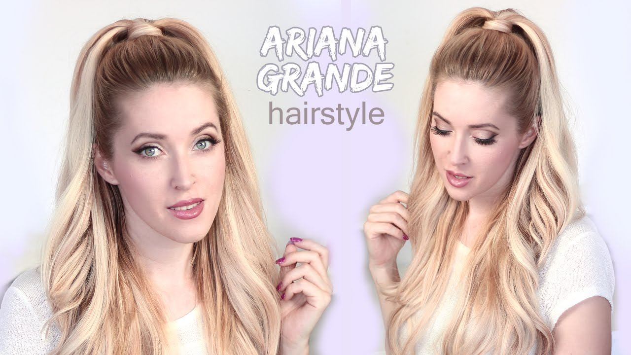 Ariana Grande Hair Tutorial Half Ponytail Hairstyle With