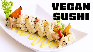 Fall Inspired Vegan Sushi: Kabocha Squash Rolls with Brown Rice and Wasabi Corn Sauce
