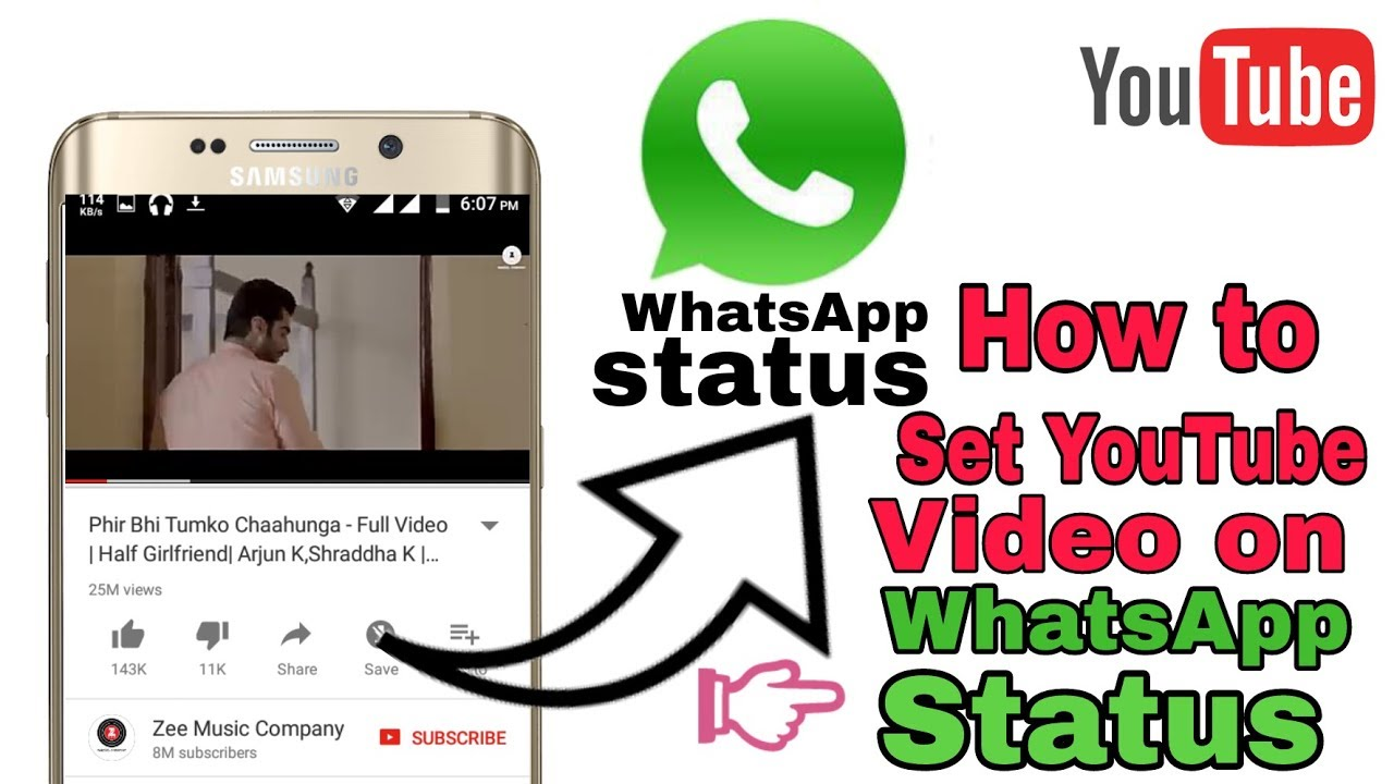 How To Set Youtube Video Direct On Whatsapp Status Without Download Video