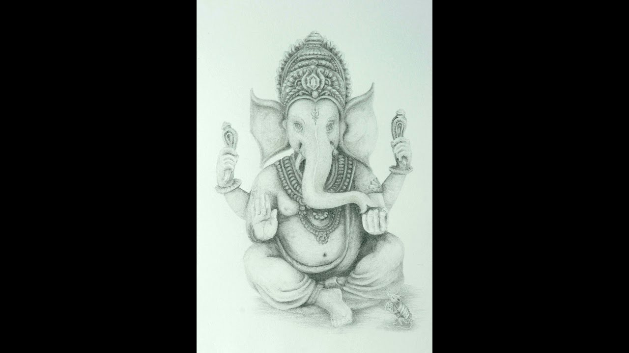 Drawing lord ganesha fine art pencil part 2 youtube