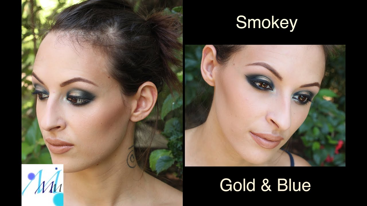 Maquillage De Soir E Party Makeup Gold And Blue Smokey Youtube