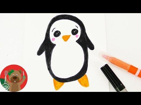 رسومات الشتاء المبتكرة كيفية رسم بطريق لكروت الدعاوى و أعياد
