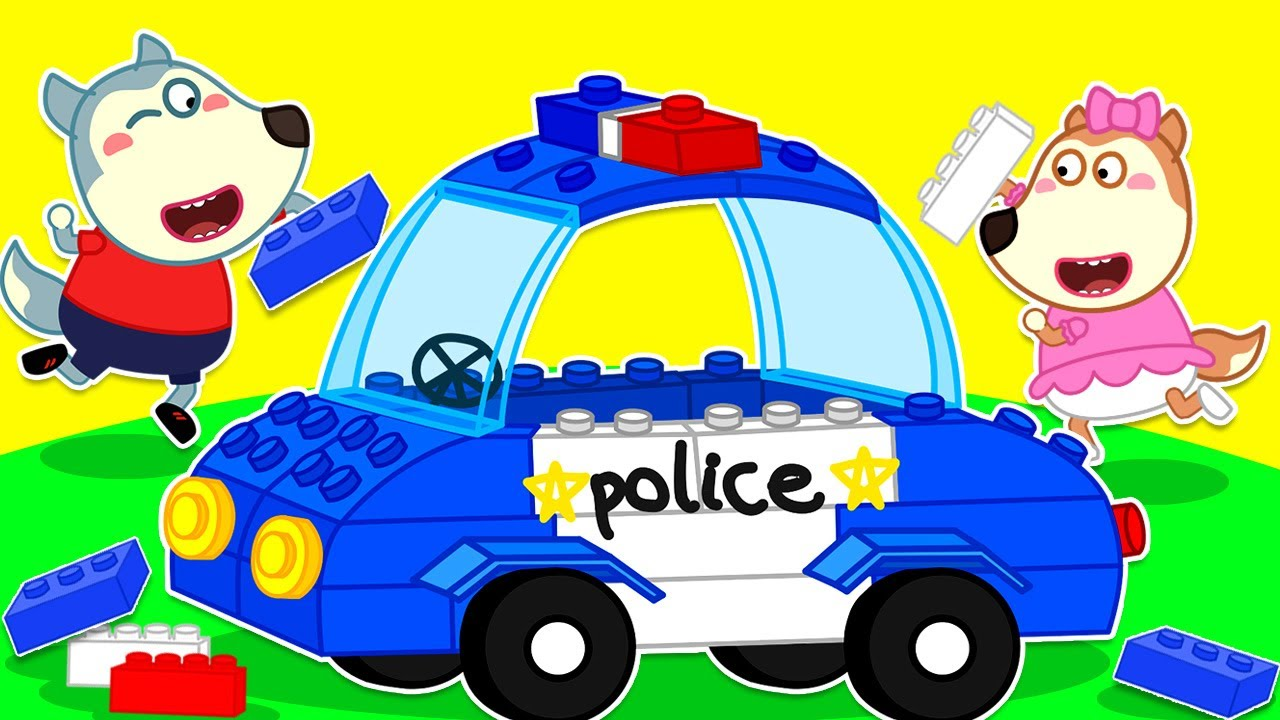 Wolf Family⭐️ Wolfoo Playing Assembles Lego Police Car and Play Together Lucy 🚔 | Kids Cartoon