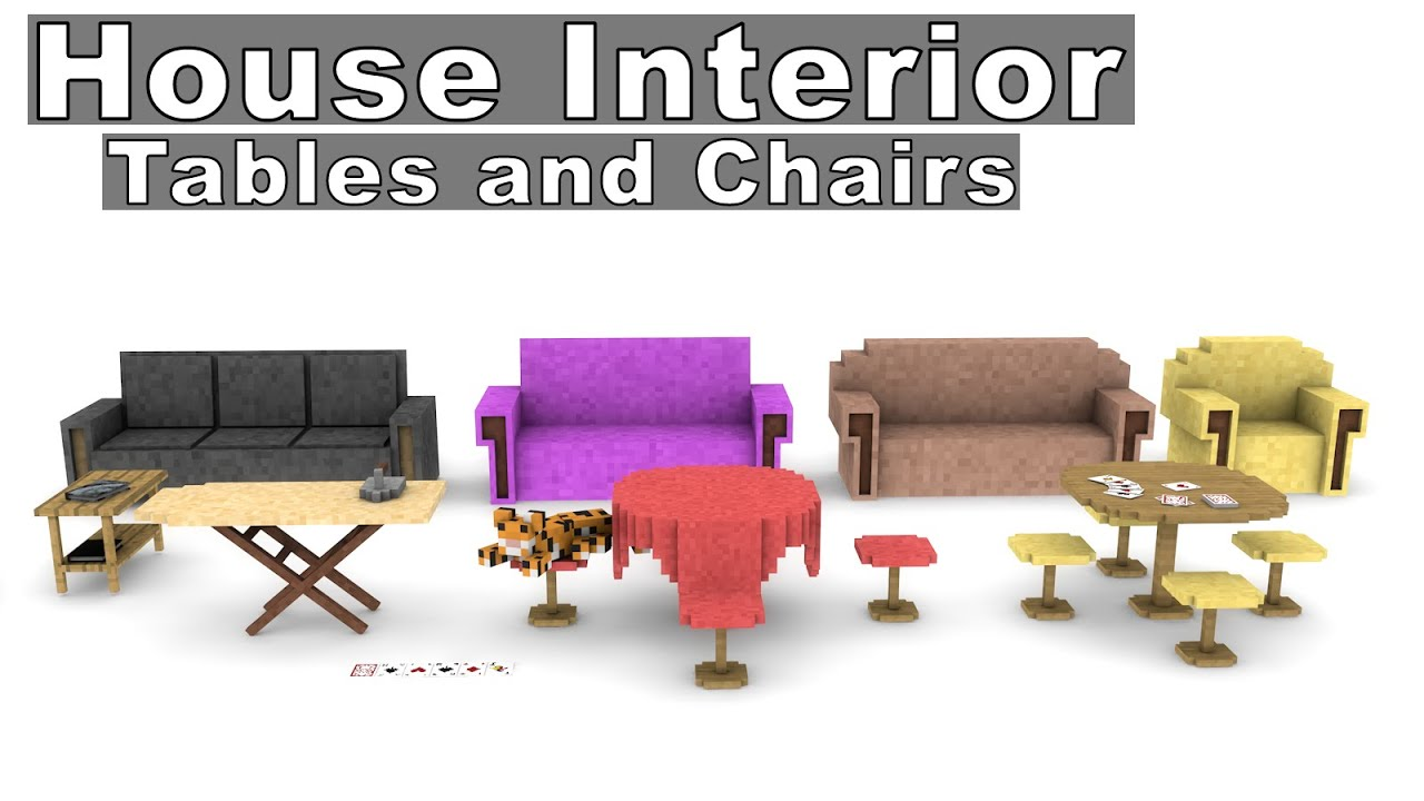 Minecraft House Interior Furniture Model Pack   Tables And Chairs [Cinema  4D]   By The Jadu * Free *