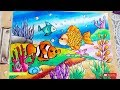 Cara Gradasi Warna dengan Crayon Oil Pastel | Menggambar Pemandangan Laut (DRAWING BOTTOM OF SEA)