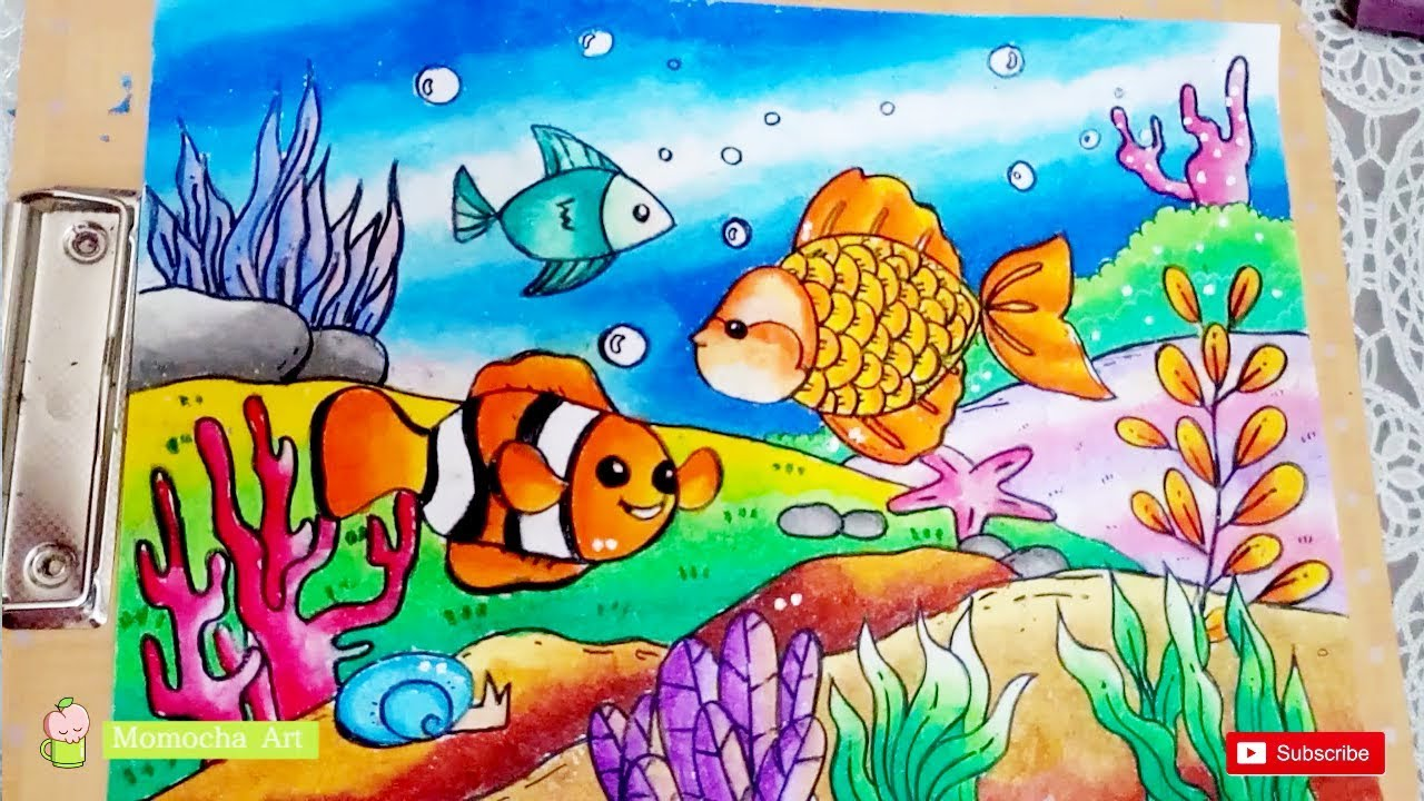 How To Draw And Coloring The Bottom Of The Sea Scenery With OIL PASTEL