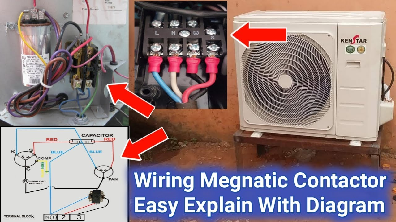 Outdoor Unit Full Wiring With Megnatic Contactor Explain