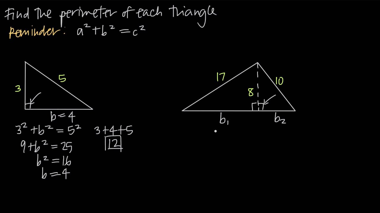 small resolution of finding perimeter using the pythagorean theorem (KristaKingMath) - YouTube