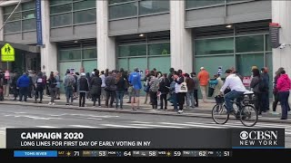 Long Lines Form For First Day Of Early Voting In New York