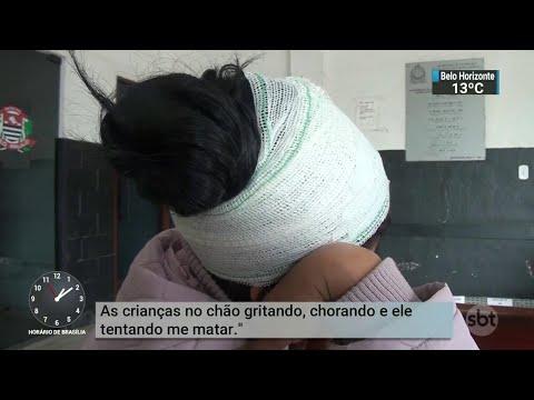 Homem tenta matar a ex-esposa a facadas na frente dos filhos   SBT Notícias (13/08/18)