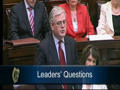 Eamon Gilmore TD raises Anglo Irish Bank with the Taoiseach
