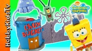 SpongeBob Krusty Krab Chum Bucket Launcher! Plankton Box Opening, Imaginext by HobbyKidsTV