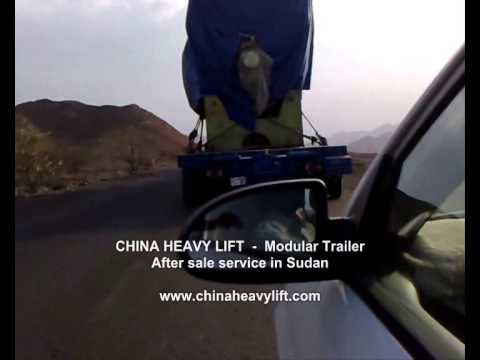 CHINA HEAVY LIFT 20 axle line Modular Trailer haul MAN Engines in Sudan