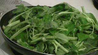 Cooking Chinese Vegetables Called Water Spinach  (Ong Choy)  Traditional Chinese Cooking