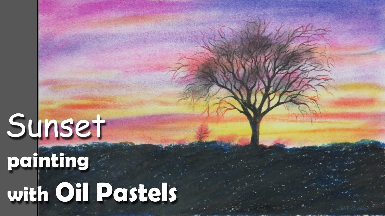 how to paint sunset with oil pastels youtube