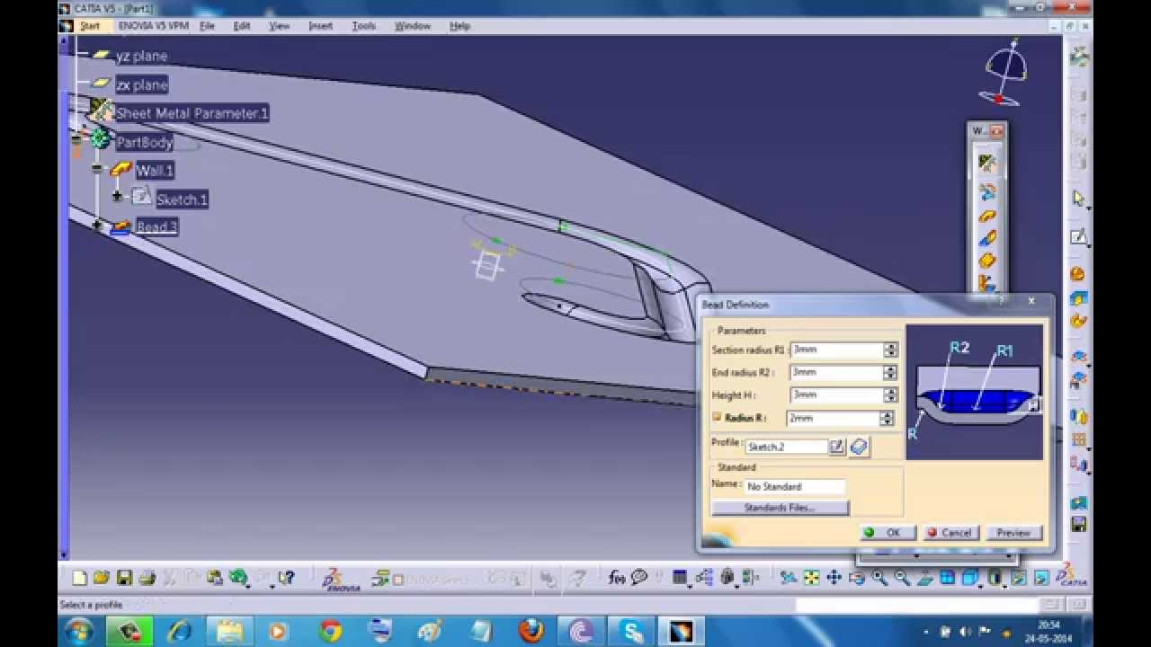 Catia V5 Tutorial Bead Stamp With Without Fillet