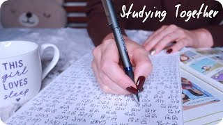 ASMR Rainy Day Studying (Inaudible Whisper, Pen Writing, Rain) 🌧️