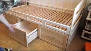 Деревянная кровать с ящиками. Часть 6. Заключительная. Отделка и сборка.(, 2013-09-01T12:23:36.000Z)