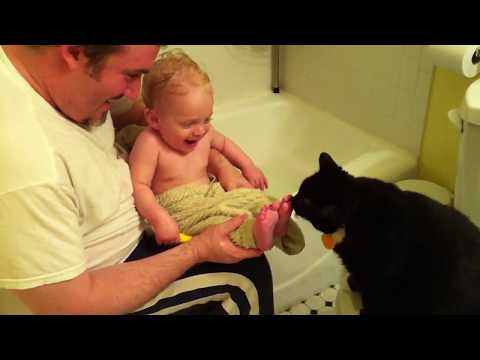 The Cat Is Hungry for Baby Toes   Cat Licking Baby Toes